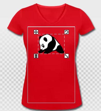 T-shirt panda rouge et col V pour femme
