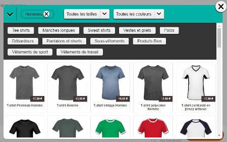 La gamme de t-shirts Sreadshirt à personnaliser.