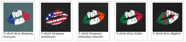 Drapeaux stylisés et bouches, créer son t-shirt supporter