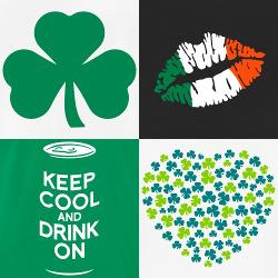 Trèfle et shamrocks, drapeau Irlandais et motif bière à imprimer sur t-shirt pour la Saint Patrick.