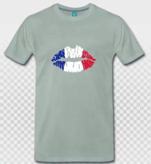 Drapeau français et t-shirt clair, personnalisez votre t-shirt France en ligne.