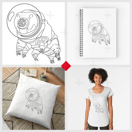 T-shirt science, tardigrade qui porte un casque d'astronaute. Motif science et nerd également disponible sur mug, accessoire, carnet, etc.