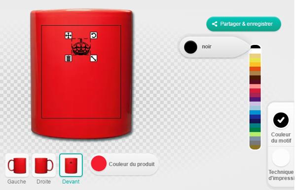 Couronne et tasse rouge, étapes de modification des couleurs