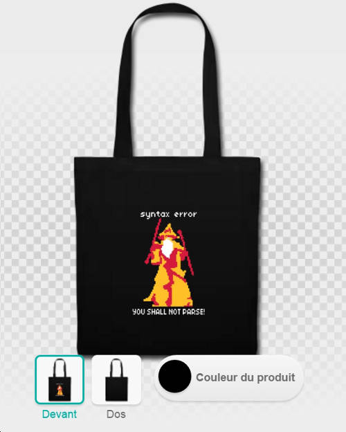 Tote bag humour geek et développeur, Gandalf en pixel art, YOU SHALL NOT PASS et syntax error.