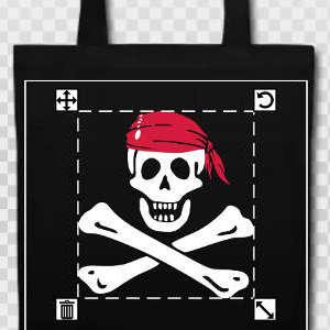 Tote bag personnalisé pirate des Caraïbes avec jolly roger