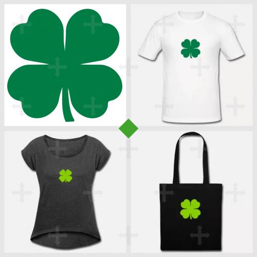 Shamrock irlandais à 4 feuilles personnalisable.