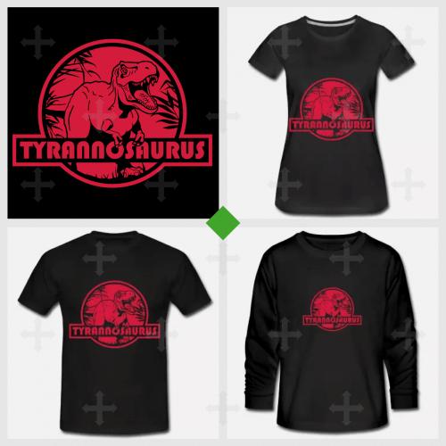 Créez un t-shirt dinosaure avec ce tyrannosaurus rex sur fond rond et rouge en référence au logo de Jurassic Park.
