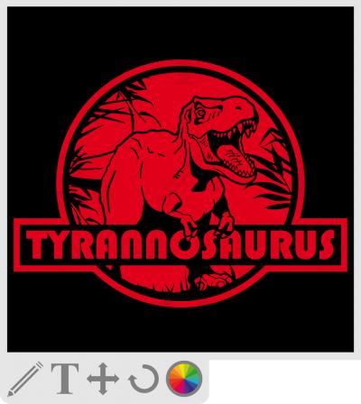 t-shirt t-rex, logo tyrannosaurus en style jurassic park