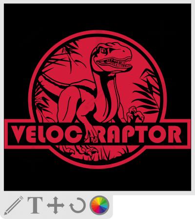 Créez votre t-shirt dinosaure original avec ce raptor stylisé découpé sur fond de logo rouge.
